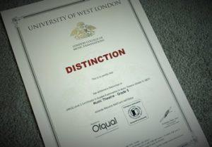 Exam certificate