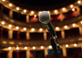 Microphone on stage in a theatre